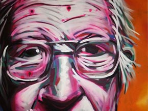 Revolting Mass / MAS - Close up of the Noam Chomsky Portrait